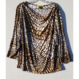 St. John yellow label brown snakeskin blouse